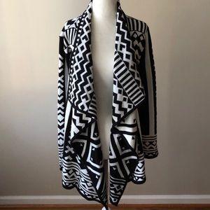 Aztec Print Open Drape Knit Cardigan